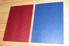 Mäkká kanálová väzba A4, modrá a purpurová obálka, zadná strana