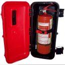Plastová skrinka na 6kg práškovy hasiaci prístroj do nákladných vozidiel nad 3,5 tony, autobusov a pracovných strojov s autovešiakom